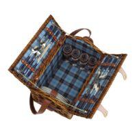Kép 3/4 - SUMMERTIME fűzfából készült piknik kosár, kék