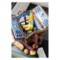 Kép 4/4 - SUMMERTIME fűzfából készült piknik kosár, kék