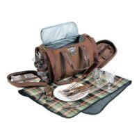 Kép 4/4 - 4 PICKNICK pikniktáska levehető vállpánttal, 2 fogóval, barna