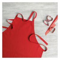 Kép 3/18 - KITAB Pamut konyhai kötény, piros