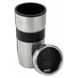Duplafalú rozsdamentes acél termoszbögre, fekete