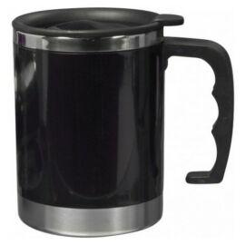 Acél termoszbögre, 400 ml, fekete