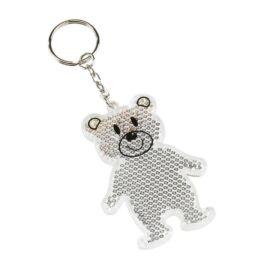 TEDDY mackós kulcstartó, fényvisszaverővel, fehér