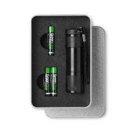 LED PLUS LED elemlámpa bádogdobozban, fekete