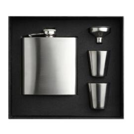 SLIMMY FLASK SET Laposüveg poharakkal, matt ezüst