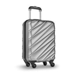 DUBAI PET merevfalú gurulós bőrönd, matt ezüst