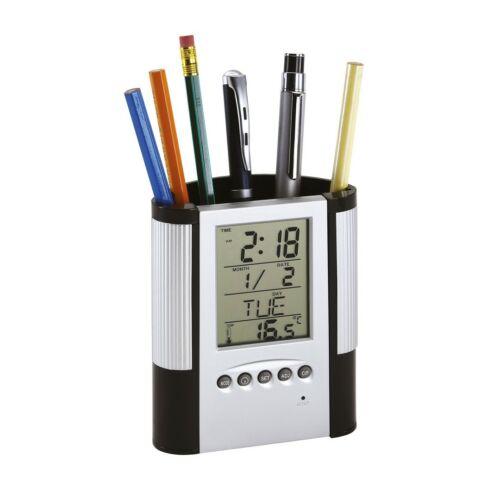 BUTLER LCD-kijelzős ébresztőóra, fekete, ezüst