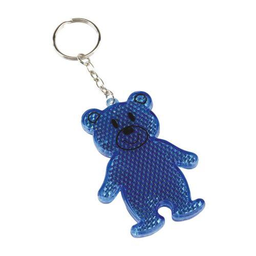 TEDDY mackós kulcstartó, fényvisszaverővel, kék