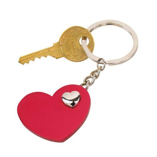 HEART-IN-HEART kulcstartó, vörös, ezüst