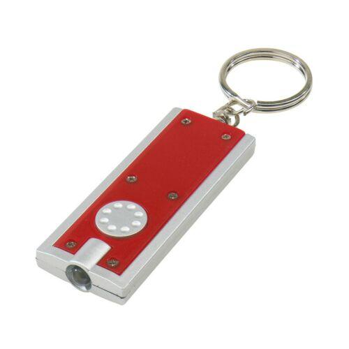 LOOK Téglalap alakú lapos kulcstartó, vörös, ezüst