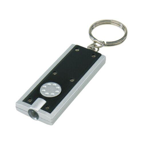 LOOK Téglalap alakú lapos kulcstartó, fekete, ezüst