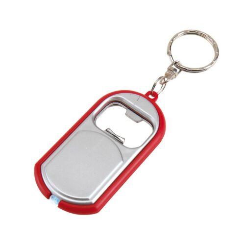 OPEN LIGHT kulcstartó, ezüst, vörös
