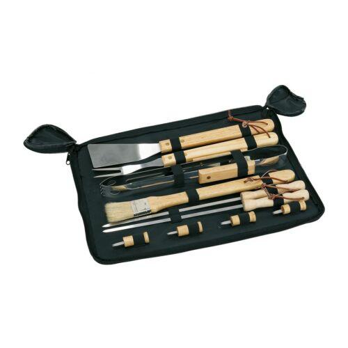 FRIED grill készlet, minőségi rozsdamentes acélból, fekete, fa