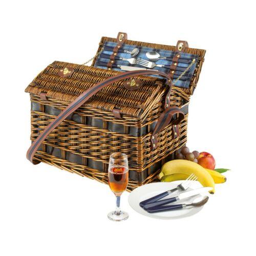 SUMMERTIME fűzfából készült piknik kosár, kék
