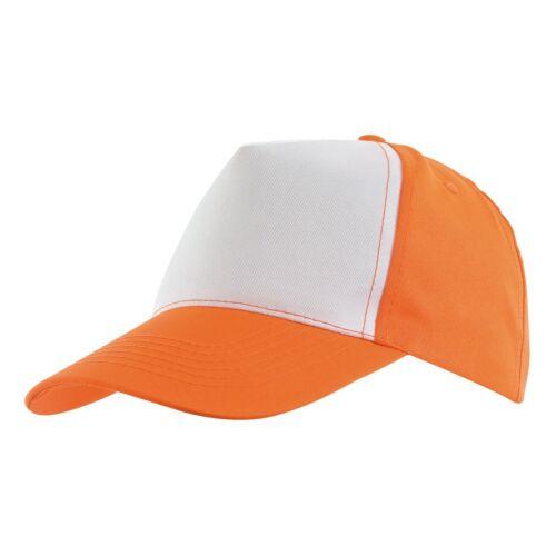 SHINY 5 paneles baseball sapka, narancssárga, fehér