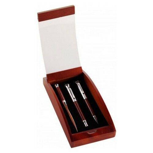 BORKUM rózsafa tollkészlet, 3 db-os, fekete tollbetéttel