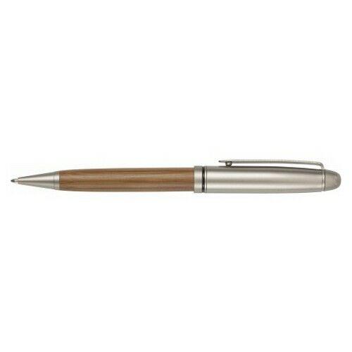 Bambusz golyóstoll fadobozban, kék tollbetéttel, ezüst/natúr