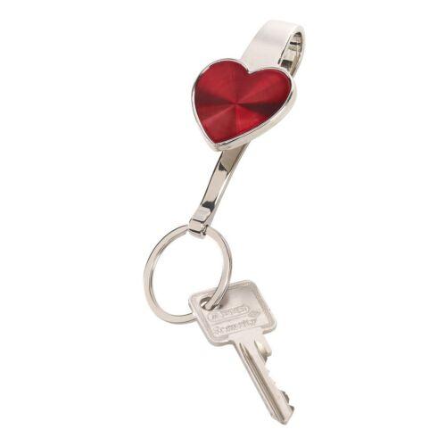 WITH LOVE akasztós kulcstartó, ezüst, vörös