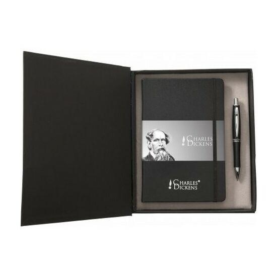 Charles Dickens A/5 írókészlet, fekete tollbetéttel, dobozba