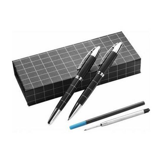Fém tollkészlet, kék tollbetéttel, díszdobozban, fekete