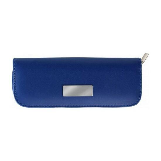 Tollkészlet fekete tollbetéttel, fém, cipzáras tokban, kék