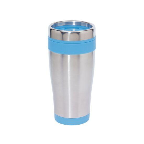 LUNGO duplafalú termobögre, ezüst, kék, gravírozva