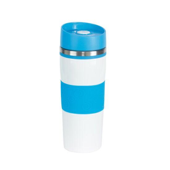 ARABICA duplafalú termobögre, világoskék, fehér, gravírozva