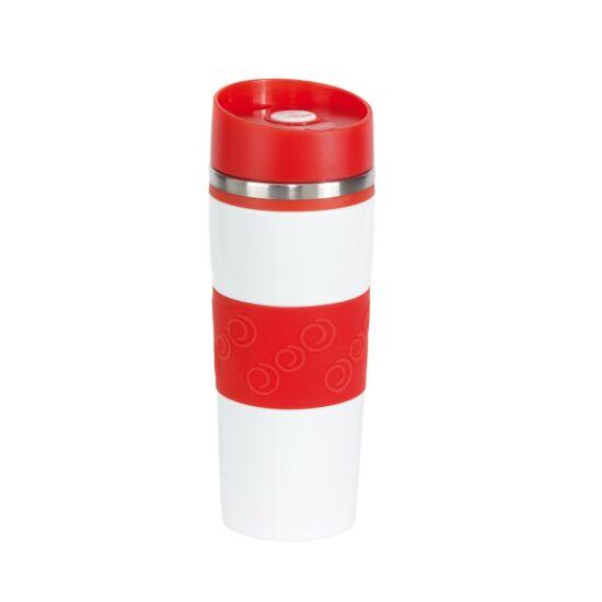 ARABICA duplafalú termobögre, fehér, vörös, gravírozva
