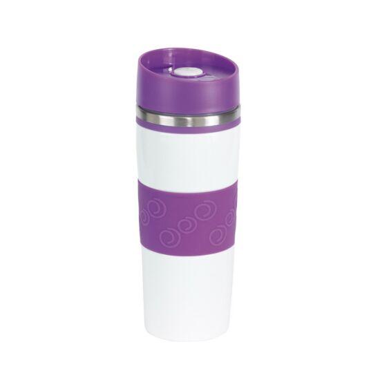 ARABICA duplafalú termobögre, fehér, lila, gravírozva