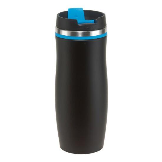 DARK CREMA duplafalú termosz bögre, fekete/kék, gravírozva