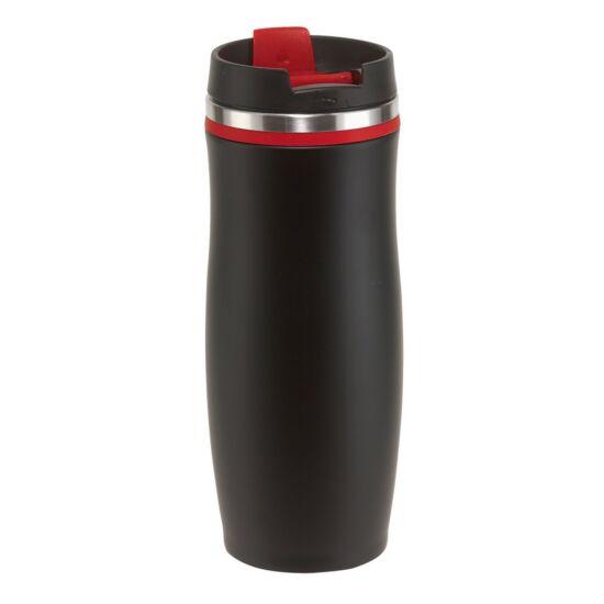 DARK CREMA duplafalú termosz bögre, fekete/piros, gravírozva
