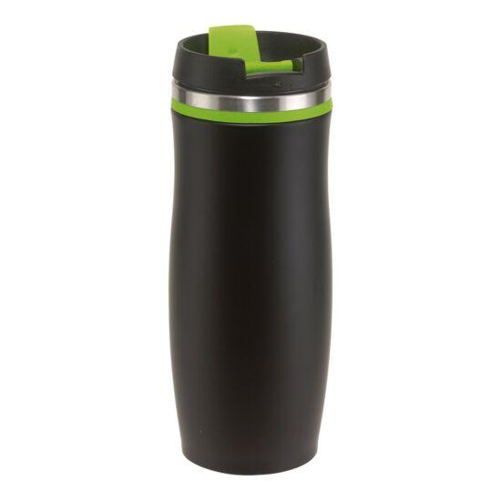 DARK CREMA duplafalú termosz bögre, fekete/zöld, gravírozva
