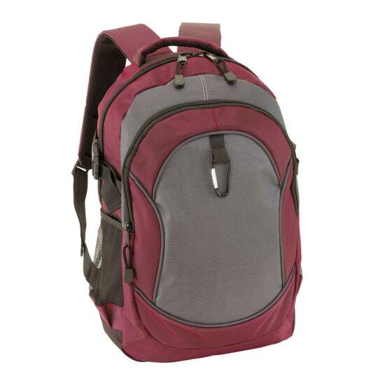 HIGH-CLASS hátizsák, bordó, szürke