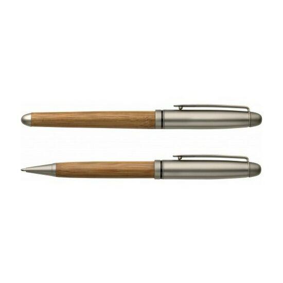 Bambusz tollkészlet fadobozban, kék tollbetéttel, ezüst/natúr