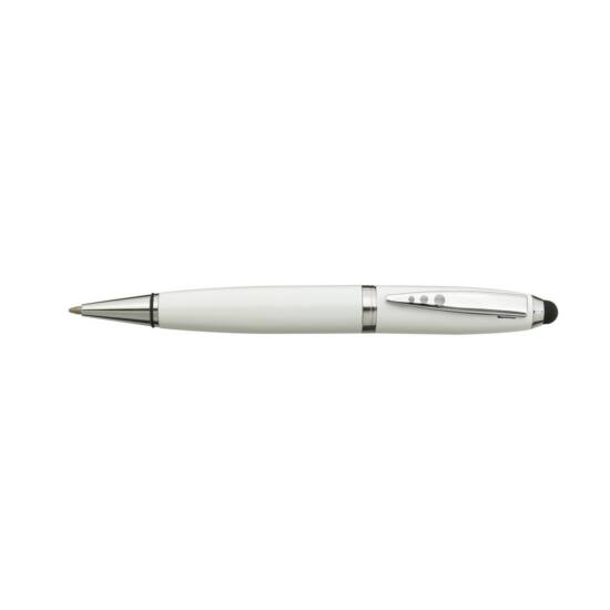 TOUCH DOWN rozsdamentes acél toll, ezüst, fehér
