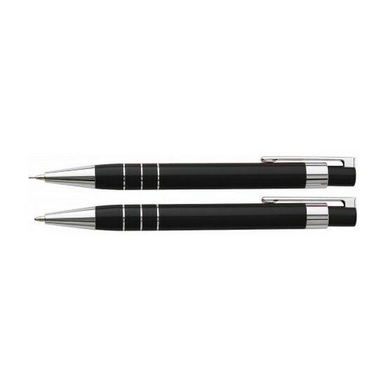 Lakkozott tollkészlet, fekete tollbetéttel, tolltartóval, fekete